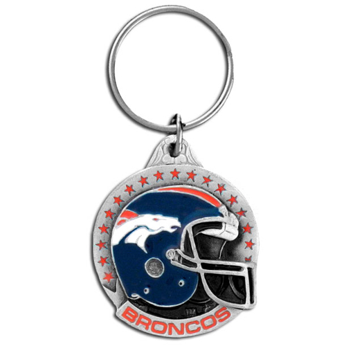 "NFL Team Helmet Key Ring - Denver Broncos - Denver Broncos team helmet on a  NFL key chain. Approx. 1 1/4"" Fob. Checkout our entire line of  licensed sports collectibles! Officially licensed NFL product Licensee: Siskiyou Buckle .com"