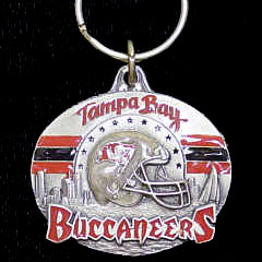 "NFL Team Design Key Ring - Tampa Bay Buccaneers - Tampa Bay Buccaneers team design NFL key chain. Approx. 1 1/4"" Fob. Checkout our entire line of  licensed sports collectibles! Officially licensed NFL product Licensee: Siskiyou Buckle .com"