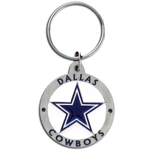 "NFL Key Ring - Dallas Cowboys - Our new Dallas Cowboys logo key ring is sculpted in durable zinc. Enameled in vibrant color, they are resistant to dings and dents. Actual size is approximately 1 3/8"" in diameter.  Check out our entire line of  key rings!  Officially licensed NFL product Licensee: Siskiyou Buckle Thank you for visiting CrazedOutSports.com"