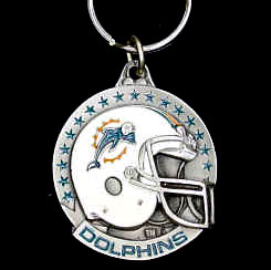 "NFL Helmet Key Ring - Miami Dolphins - Miami Dolphins team design NFL key chain. Approx. 1 1/4"" Fob. Checkout our entire line of  licensed sports collectibles! Officially licensed NFL product Licensee: Siskiyou Buckle .com"