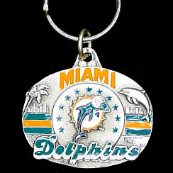"NFL Key Ring - Miami Dolphins - Miami Dolphins team design NFL key chain. Approx. 1 1/4"" Fob. Checkout our entire line of  licensed sports collectibles! Officially licensed NFL product Licensee: Siskiyou Buckle .com"