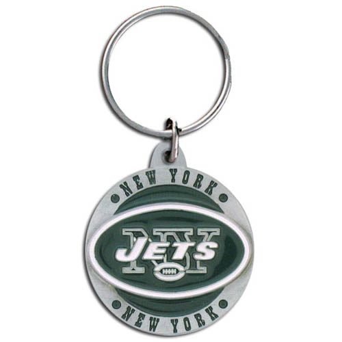 "NFL Key Ring - New York Jets - Our New York Jets logo key ring is sculpted in durable zinc. Enameled in vibrant color, they are resistant to dings and dents. Actual size is approximately 1 3/8"" in diameter.  Check out our entire line of  key rings!  Officially licensed NFL product Licensee: Siskiyou Buckle Thank you for visiting CrazedOutSports.com"