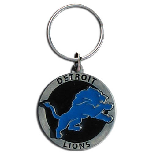 "NFL Logo Key Ring - Detroit Lions  - Our Detroit Lions logo key ring is sculpted in durable zinc. Enameled in vibrant color, they are resistant to dings and dents. Actual size is approximately 1 3/8"" in diameter.  Check out our entire line of  key rings!  Officially licensed NFL product Licensee: Siskiyou Buckle .com"
