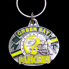 "NFL Design Key Ring - Green Bay Packers - Green Bay Packers team design NFL key chain. Approx. 1 1/4"" Fob. Checkout our entire line of  licensed sports collectibles! Officially licensed NFL product Licensee: Siskiyou Buckle .com"