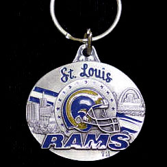 "NFL Design Key Ring - St. Louis Rams - St. Louis Rams team design NFL key chain. Approx. 1 1/4"" Fob. Checkout our entire line of  licensed sports collectibles! Officially licensed NFL product Licensee: Siskiyou Buckle .com"