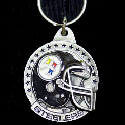 "NFL Helmet Key Ring - Pittsburgh Steelers - Pittsburgh Steelers team design NFL key chain. Approx. 1 1/4"" Fob. Checkout our entire line of  licensed sports collectibles! Officially licensed NFL product Licensee: Siskiyou Buckle .com"