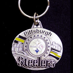 "NFL Design Key Ring - Pittsburgh Steelers - Pittsburgh Steelers team design NFL key chain. Approx. 1 1/4"" Fob. Checkout our entire line of  licensed sports collectibles! Officially licensed NFL product Licensee: Siskiyou Buckle .com"