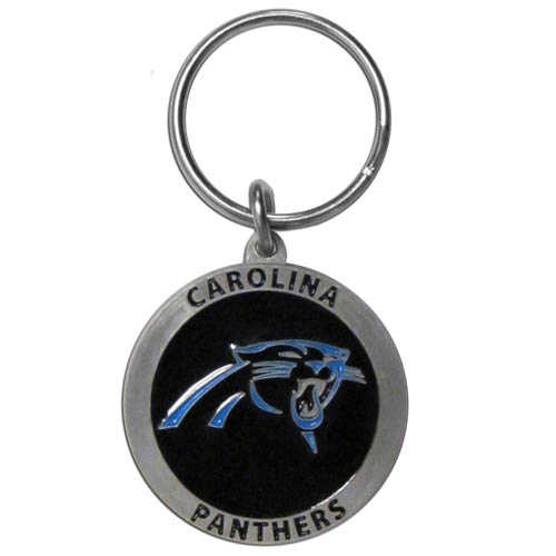 "NFL Key Ring - Carolina Panthers - Our Carolina Panthers logo key ring is sculpted in durable zinc. Enameled in vibrant color, they are resistant to dings and dents. Actual size is approximately 1 3/8"" in diameter.  Officially licensed NFL product Licensee: Siskiyou Buckle .com"