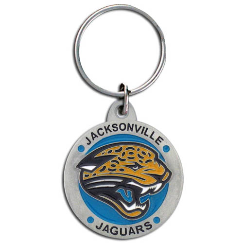 "NFL Key Ring - Jacksonville Jaguars - Our Jacksonville Jaguars logo key ring is sculpted in durable zinc. Enameled in vibrant color, they are resistant to dings and dents. Actual size is approximately 1 3/8"" in diameter.  Check out our entire line of  key rings!  Officially licensed NFL product Licensee: Siskiyou Buckle Thank you for visiting CrazedOutSports.com"
