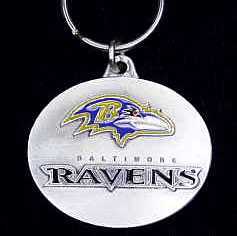 "NFL Design Key Ring - Baltimore Ravens - Baltimore Ravens team design NFL key chain. Approx. 1 1/4"" Fob. Checkout our entire line of  licensed sports collectibles! Officially licensed NFL product Licensee: Siskiyou Buckle Thank you for visiting CrazedOutSports.com"