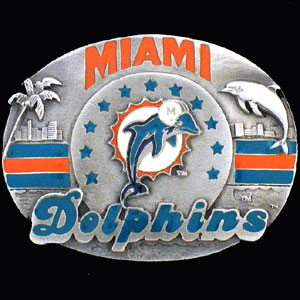 NFL 3D Magnet - Miami Dolphins - Our NFL team magnets feature great detail and a hand enameled finish. A must have for any Miami Dolphins fan! Check out our extensive line of  NFL merchandise! Officially licensed NFL product Licensee: Siskiyou Buckle .com