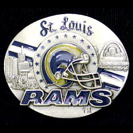 NFL 3D Magnet - St. Louis Rams - Our NFL team magnets feature great detail and a hand enameled finish. A must have for any St. Louis Rams fan! Check out our extensive line of  NFL merchandise! Officially licensed NFL product Licensee: Siskiyou Buckle Thank you for visiting CrazedOutSports.com