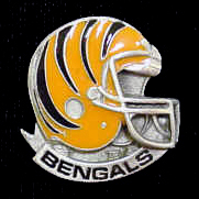 NFL Team Helmet Pin - Cincinnati Bengals - Officially licensed NFL helmet pin featuring the Cincinnati Bengals. Officially licensed NFL product Licensee: Siskiyou Buckle .com