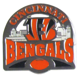 Glossy NFL Team Pin - Cincinnati Bengals - High gloss NFL team pin featuring Cincinnati Bengals. Officially licensed NFL product Licensee: Siskiyou Buckle .com
