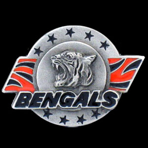 NFL Team Logo Pin - Cincinnati Bengals - Sculpted NFL team pin that features the Cincinnati Bengals. Officially licensed NFL product Licensee: Siskiyou Buckle .com
