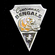 NFL Team Pin - Cincinnati Bengals - Sculpted NFL team pin that features the Cincinnati Bengals. Officially licensed NFL product Licensee: Siskiyou Buckle .com