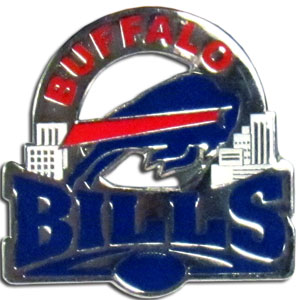 Glossy NFL Team Pin - Buffalo Bills - High gloss NFL team pin featuring Buffalo Bills. Officially licensed NFL product Licensee: Siskiyou Buckle .com