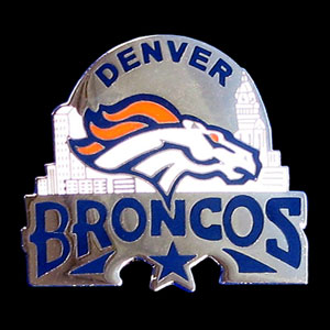 Glossy NFL Team Pin - Denver Broncos - High gloss NFL team pin featuring Denver Broncos. Officially licensed NFL product Licensee: Siskiyou Buckle Thank you for visiting CrazedOutSports.com