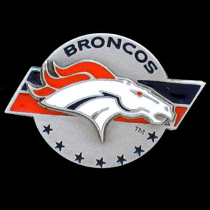 NFL Team Logo Pin - Denver Broncos - Sculpted NFL team pin that features the Denver Broncos. Officially licensed NFL product Licensee: Siskiyou Buckle Thank you for visiting CrazedOutSports.com
