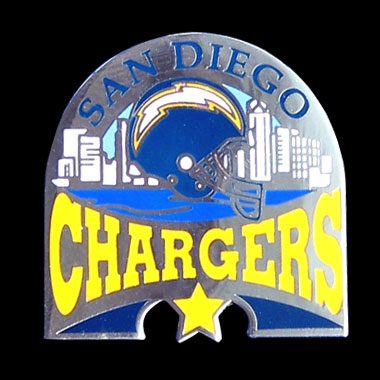 Glossy NFL Team Pin - San Diego Chargers - High gloss NFL team pin featuring San Diego Chargers. Officially licensed NFL product Licensee: Siskiyou Buckle .com