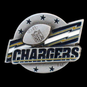 NFL Team Logo Pin - San Diego Chargers - Sculpted NFL team pin that features the San Diego Chargers. Officially licensed NFL product Licensee: Siskiyou Buckle .com