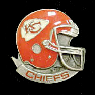 NFL Team Helmet Pin - Kansas City Chiefs - Officially licensed NFL helmet pin featuring the Kansas City Chiefs. Officially licensed NFL product Licensee: Siskiyou Buckle Thank you for visiting CrazedOutSports.com
