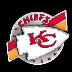 NFL Team Logo Pin - Kansas City Chiefs - Sculpted NFL team pin that features the Kansas City Chiefs. Officially licensed NFL product Licensee: Siskiyou Buckle Thank you for visiting CrazedOutSports.com