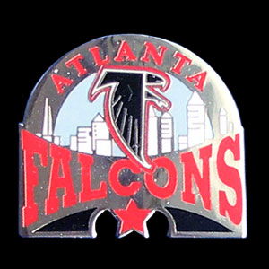 Glossy NFL Team Pin - Atlanta Falcons - High gloss NFL team pin featuring Atlanta Falcons. Officially licensed NFL product Licensee: Siskiyou Buckle .com
