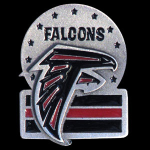 NFL Team Design Pin - Atlanta Falcons - Sculpted NFL team pin that features the Atlanta Falcons. Officially licensed NFL product Licensee: Siskiyou Buckle .com