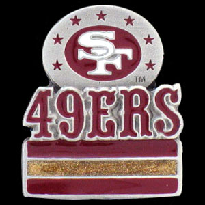 NFL Team Logo Pin - San Francisco 49ers - Sculpted NFL team pin that features the San Francisco 49ers. Officially licensed NFL product Licensee: Siskiyou Buckle .com