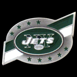 NFL Team Logo Pin - New York Jets - Sculpted NFL team pin that features the New York Jets. Officially licensed NFL product Licensee: Siskiyou Buckle Thank you for visiting CrazedOutSports.com