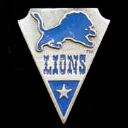NFL Team Pin - Detroit Lions - Sculpted NFL team pin that features the Detroit Lions. Officially licensed NFL product Licensee: Siskiyou Buckle .com
