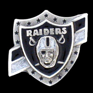 NFL Team Logo Pin - Oakland Raiders - Sculpted NFL team pin that features the Oakland Raiders. Officially licensed NFL product Licensee: Siskiyou Buckle Thank you for visiting CrazedOutSports.com