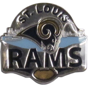 Rams Glossy Pin - High gloss NFL team pin featuring Chicago Bears. Officially licensed NFL product Licensee: Siskiyou Buckle .com