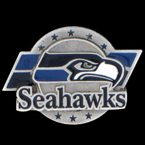 NFL Team Logo Pin - Seattle Seahawks - Sculpted NFL team pin that features the Seattle Seahawks. Officially licensed NFL product Licensee: Siskiyou Buckle .com