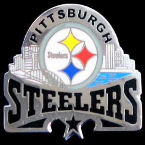 Glossy NFL Team Pin - Pittsburgh Steelers - High gloss NFL team pin featuring Pittsburgh Steelers. Officially licensed NFL product Licensee: Siskiyou Buckle .com