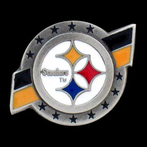NFL Team Logo Pin - Pittsburgh Steelers - Sculpted NFL team pin that features the Pittsburgh Steelers. Officially licensed NFL product Licensee: Siskiyou Buckle .com