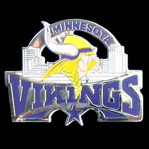 Glossy Team Pin -Vikings - High gloss NFL team pin featuring Minnesota Vikings. Officially licensed NFL product Licensee: Siskiyou Buckle .com
