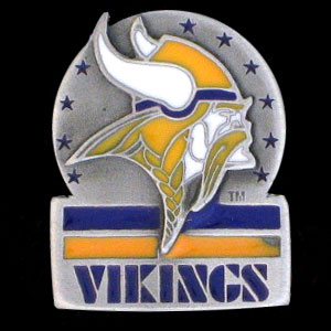 NFL Team Logo Pin - Minnesota Vikings - Sculpted NFL team pin that features the Minnesota Vikings. Officially licensed NFL product Licensee: Siskiyou Buckle Thank you for visiting CrazedOutSports.com