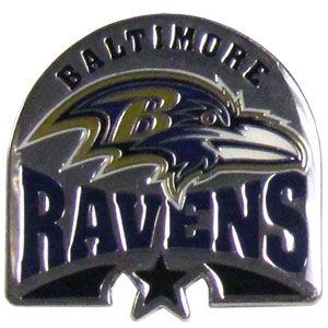 NFL Pin - Baltimore Ravens - Our glossy NFL pins are a great way to show of your team pride. Each pin features a hand enameled finish with a hard glossy coating. Officially licensed NFL product Licensee: Siskiyou Buckle .com