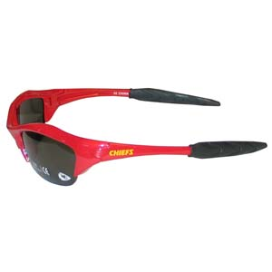 Chiefs Blade Sunglasses - Our blade sunglasses have the sports logo screen printed on both sides of the frames. Look stylish wearing our sports memorabilia glasses with arms that feature rubber colored accents and UV400 protection. Officially licensed NFL product Licensee: Siskiyou Buckle Thank you for visiting CrazedOutSports.com