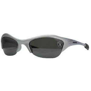 NFL Sunglasses - Oakland Raiders - Our sporty looking NFL sunglasses have the sports team logo screen printed both sides of the frames. The sunglass arms feature rubber team colored accents.  Look great in our sports memorabilia while rooting for your favorite sports team. Officially licensed NFL product Licensee: Siskiyou Buckle Thank you for visiting CrazedOutSports.com