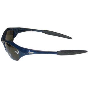 NFL Sunglasses - St. Louis Rams - Our sporty looking NFL sunglasses have the sports team logo screen printed both sides of the frames. The sunglass arms feature rubber team colored accents.  Look great in our sports memorabilia while rooting for your favorite sports team. Officially licensed NFL product Licensee: Siskiyou Buckle .com