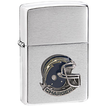 NFL Zippo Lighter - Chargers Helmet - Zippo Lighter with Sculpted and Enameled Helmet - San Diego Chargers. Officially licensed NFL product Licensee: Siskiyou Buckle .com