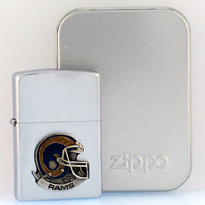 NFL Zippo Lighter - Rams Helmet - NFL Zippo Lighter with Sculpted and Enameled Helmet - St. Louis Rams. Officially licensed NFL product Licensee: Siskiyou Buckle .com