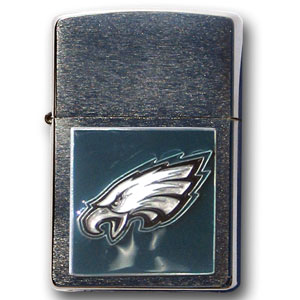 Large Emblem NFL Zippo - Philadelphia Eagles - Show off your team spirit with our new larger-emblem Zippo Lighters. All of our emblems are made from expertly crafted, three-dimensional pewter. Check out our wide selection of  Zippo Lighters! Officially licensed NFL product Licensee: Siskiyou Buckle .com