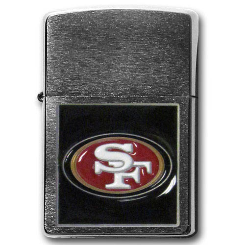 Large Emblem NFL Zippo - San Francisco 49ers - Show off your team spirit with our new larger-emblem Zippo Lighters. All of our emblems are made from expertly crafted, three-dimensional pewter. Check out our wide selection of  Zippo Lighters! Officially licensed NFL product Licensee: Siskiyou Buckle .com