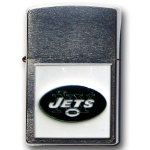 Large Emblem NFL Zippo - New York Jets - Show off your team spirit with our new larger-emblem Zippo Lighters. All of our emblems are made from expertly crafted, three-dimensional pewter. Check out our wide selection of  Zippo Lighters! Officially licensed NFL product Licensee: Siskiyou Buckle Thank you for visiting CrazedOutSports.com