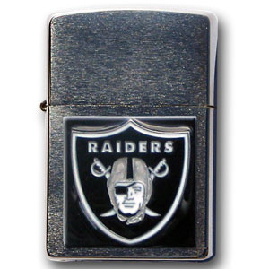 Large Emblem NFL  Zippo - Oakland Raiders - Show off your team spirit with our new larger-emblem Zippo Lighters. All of our emblems are made from expertly crafted, three-dimensional pewter. Check out our wide selection of  Zippo Lighters! Officially licensed NFL product Licensee: Siskiyou Buckle Thank you for visiting CrazedOutSports.com