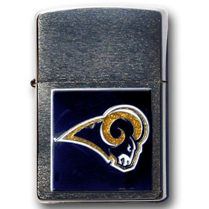 Large Emblem NFL Zippo -  St. Louis Rams - Show off your team spirit with our new larger-emblem Zippo Lighters. All of our emblems are made from expertly crafted, three-dimensional pewter. Check out our wide selection of  Zippo Lighters! Officially licensed NFL product Licensee: Siskiyou Buckle .com